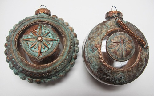 Swellegant over polymer clay to create vintage ornaments by Carole Monahan