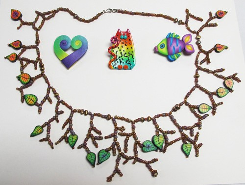 Gradated Leaf Necklace, Swirl Heart Pin, Cat Pin and Fish Pin by Diane Villano