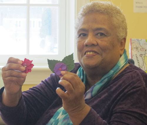 Jackie McKinney demonstrated her style of flower making at our February guild meeting